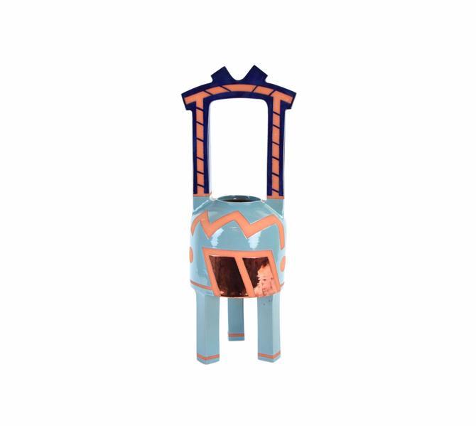 Vintage Modernist Memphis Style Studio Pottery Vase Sculpture by PrairielandArt