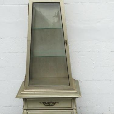 Tall Obelisk Two Part Painted China Closet Display Cabinet Cupboard 2220