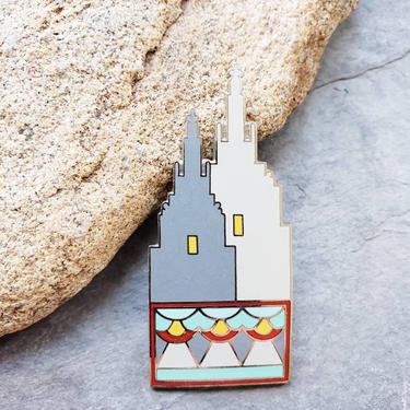 1980s Acme Studios Pin San Remo Art Deco Architecture / 80s Colorful Cloisonne Handmade Brooch Robert Stern by RareJuleVintage