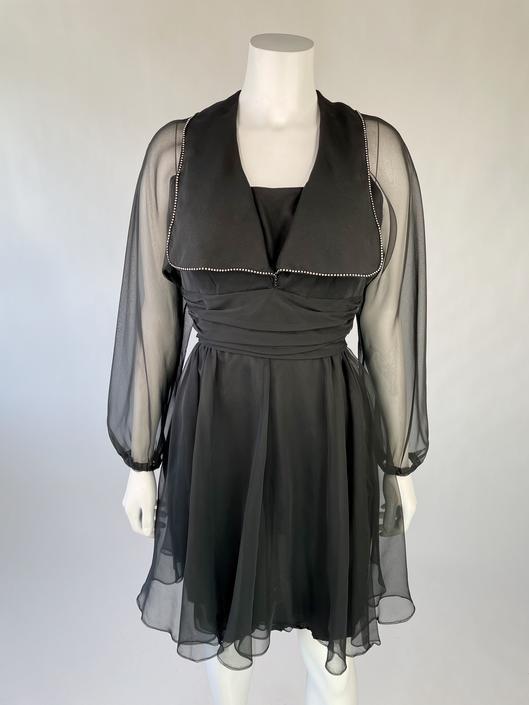 1960's Black Cocktail Dress w/ Rhinestone Bib