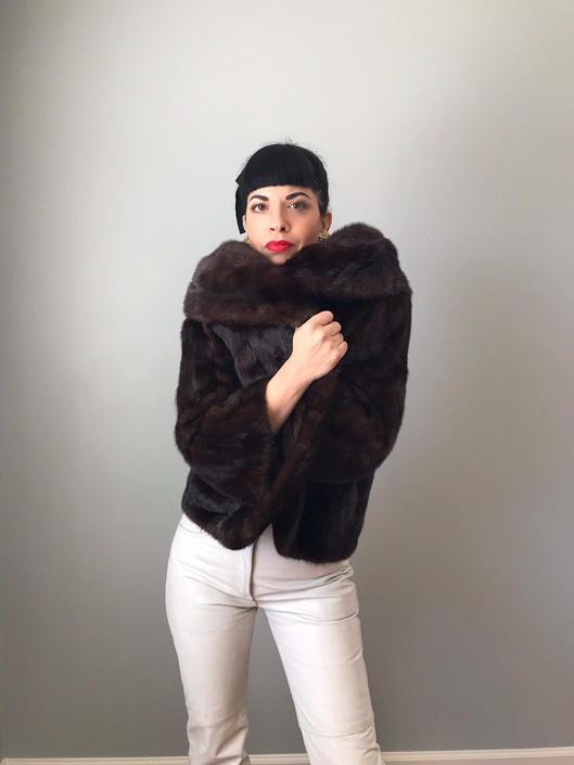 vintage 50s 60s mink fur cropped jacket | dark brown mink huge collar and long bell sleeves by LosGitanosVintage