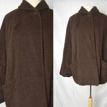 Vintage 1960s I Magnin Brown Virgin Wool Swing Coat, Short Swing Coat, Department Store Vintage, Sz Medium by MobyDickVintage