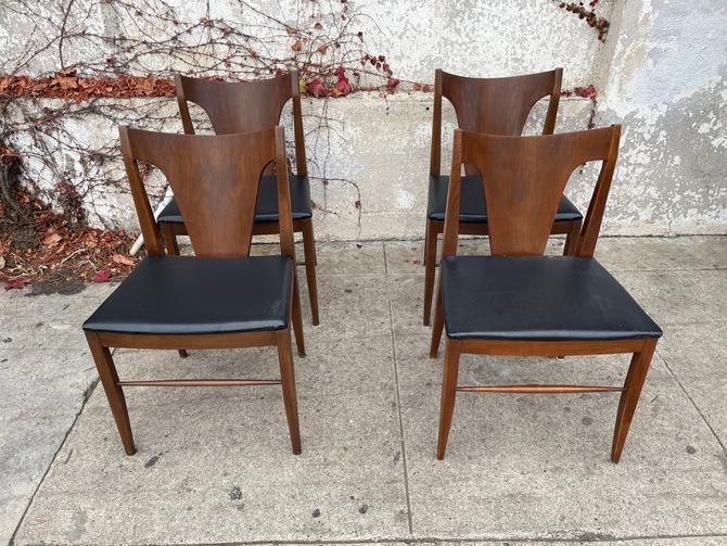 Walnut Dining Chairs w/Black Seats - Set of 4