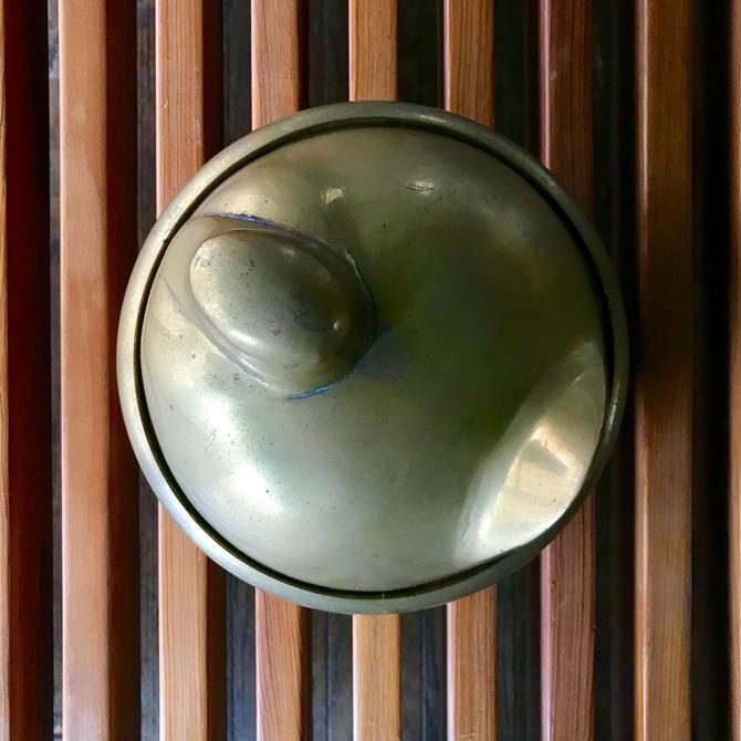 Vintage Brass Bird Abstract Futurist Fauvist Lidded Brass Bowl Dish Mid-Century Modern by BrainWashington