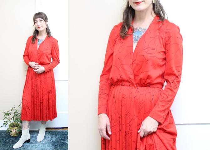 Vintage 70's Lilli Diamond Dress / 1970's Red and Black Dress / Women's Size Medium - Large by RubyThreadsVintage