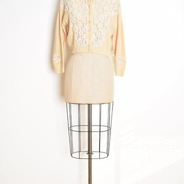 vintage 50s sweater cream wool lace beaded sequin cardigan jumper top M clothing rockabilly by huncamuncavintage