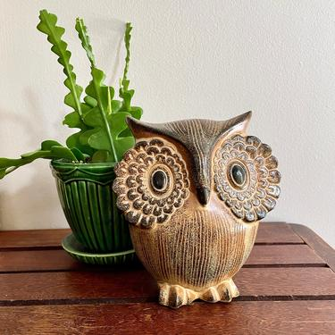 Vintage Stoneware Ceramic Pottery Owl Lantern, Votive Tealight Candle Holder - Mid Century Modern, Halloween Decor, Luminary, Brown Black by VenerablePastiche