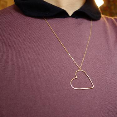 Floating Heart Pendant - Handmade Hammered 14k Gold Filled Heart Necklace by RachelPfefferDesigns