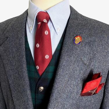 Vintage NORDSTROM 100% Wool SCOTTISH TWEED Blazer ~ 44 Reg to Long ~ Herringbone jacket / sport coat ~ Preppy / Ivy League / Trad ~ by SparrowsAndWolves
