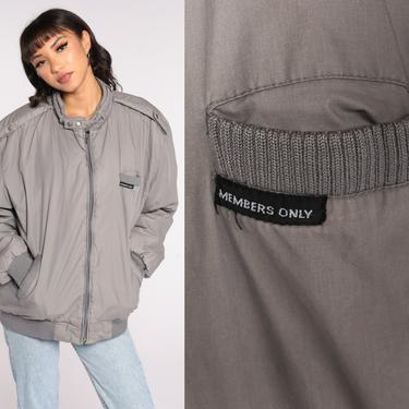 Grey MEMBERS ONLY Jacket 80s Zip Up Windbreaker Bomber Cafe Racer Hipster Shell Light Vintage 1980s Lightweight Large by ShopExile