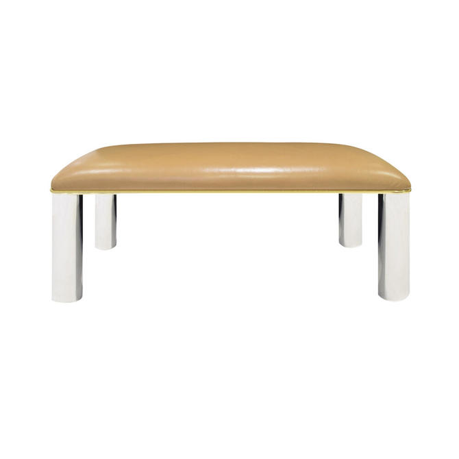 Karl Springer Bench in Polished Stainless Steel and Brass 1980s