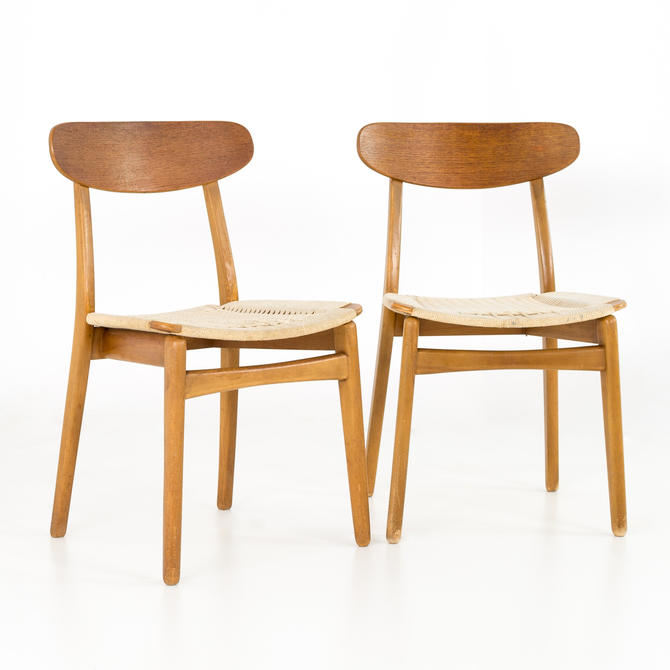Mid Century Danish Teak Roped Seat Dining Chairs - Matching Pair - mcm by ModernHill