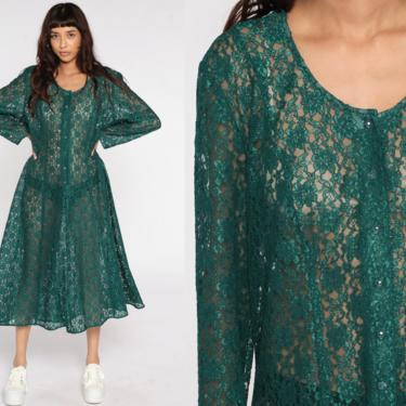 Sheer LACE Dress 90s Midi Green Grunge Boho Floral Button Up 1990s Vintage Bohemian Party Long See Through Long sleeve Extra Large xl by ShopExile