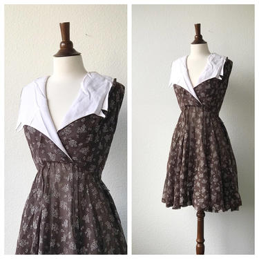 vintage brown sailor collar daydress 1950s size M by honeycombvintage