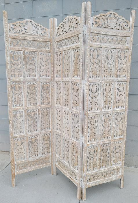 Boho Chic Whitewashed Carved 3-Panel Room Divider From Urban Outfitters