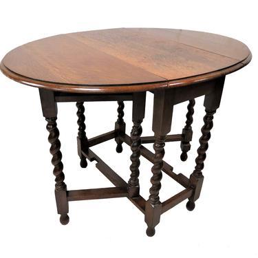 Drop Leaf Dining Table | Antique English Oak Barley Twist Gate Leg Drop Table by PickeryPlace