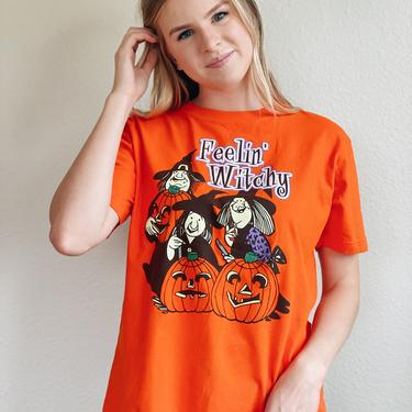 Vintage Halloween Witch Tee Shirt by MadroneClothing