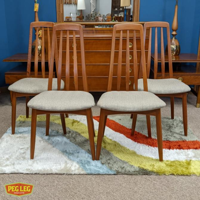 Set of 4 Danish Modern Benny Linden teak dining chairs with new upholstery