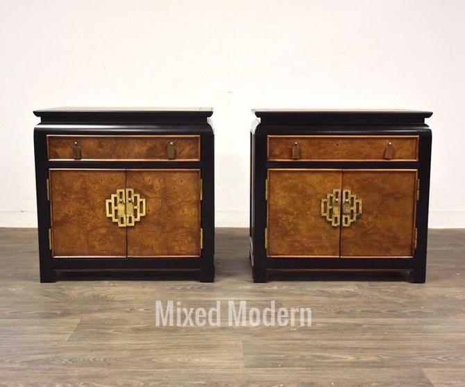 Chin Hua Burl & Brass Modern Nightstands- a pair by mixedmodern1