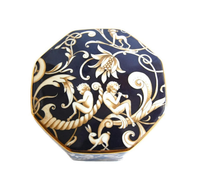 Wedgwood Cornucopia Trinket Box Vintage Octagonal Bone China Jewelry