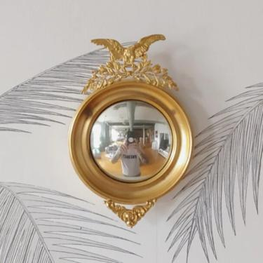 Vintage Wall Mirror, Convex, Gold Finish, Eagle, circa 60's by DecoDiscoDecor