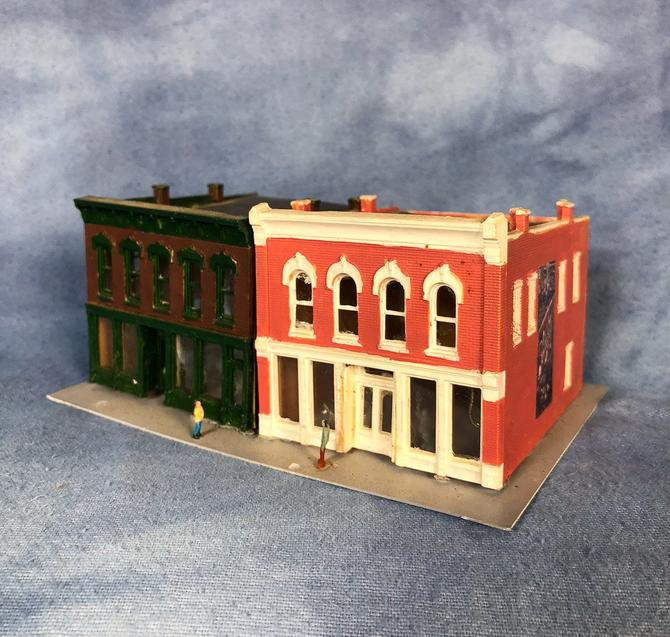 Vintage Pair of Scale Model Town City Store Buildings, Storefronts and  Sidewalks, N Scale, American by VintageGoofball