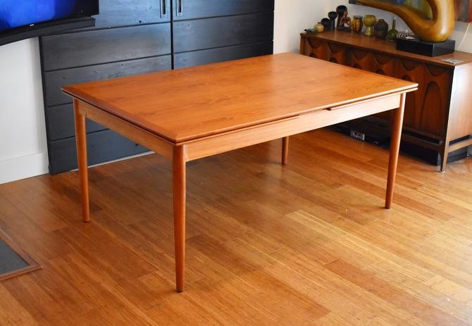 """Large, newly-restored Hornslet Mobelfabrik teak expandable dining table 117"""" long by MidCenturyClever"""