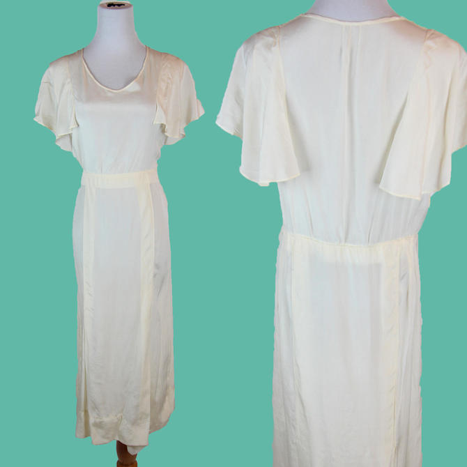 1920s 30s Pure Silk White Day Dress with Flutter Sleeves, Size S M Wearable Great Condition by WalkinVintage