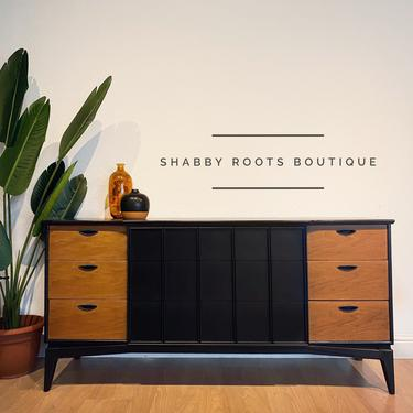 NEW! Kent Coffey Mid Century Modern vintage triple dresser credenza refinished in black and walnut - San Francisco, CA by ShabbyRootsBoutique