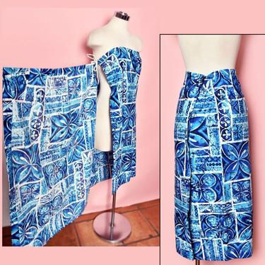 60's Blue Hawaiian Vintage Barkcloth Wrap Sarong Dress Skirt Hawaii Print Cotton 1960's Tiki Mod Mid Century Pinup Rockabilly Dress by Boutique369