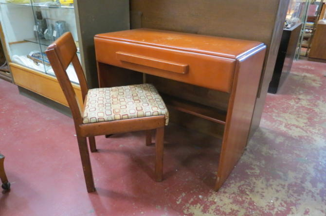 Vintage MCM Russel Wright wood desk and chair