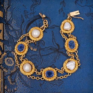 Untreated Ceylon Sapphire and Natural Pearl Bracelet c1910
