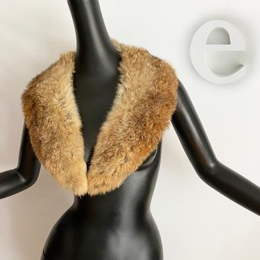 Genuine Long Rabbit Fur Collar • Vintage 50s 60s 70s • Rockabilly Pin Up • Great for a Sweater Coat Jacket or wear as an accessory  by elliemayhems