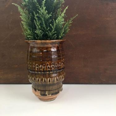 1970s stoneware vase - brown drip glaze -  vintage art pottery by NextStageVintage