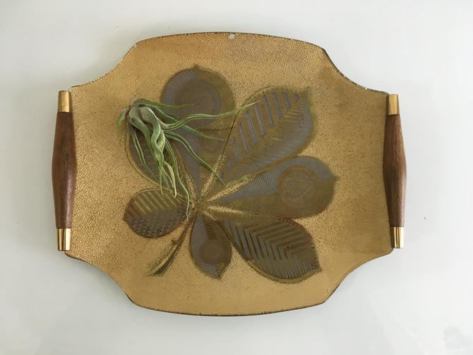 Vintage Georges Briard Gold Glass Serving Tray Dish with Wooden and Brass Handle Mid-Century Retro Mad Men MCM Leaves Flowers Cocktail Party by CheckEngineVintage