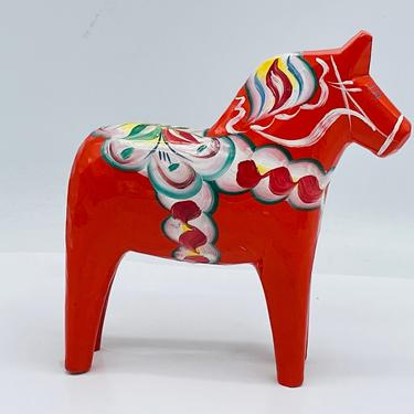 Vintage Nils Olsson Orange  Dala Horse Figurine by JoAnntiques