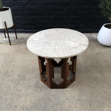 Mid-Century Modern End Table with Marble Stone Top by VintageSupplyLA