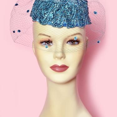 Blue Sequin Velvet Veiled Vintage Ladies Hat, 1950's, 1960's, Light Turquoise Blue, Sky Blue, Pill Box Hat, Tilt Top hat Little Hat Cocktail by Boutique369