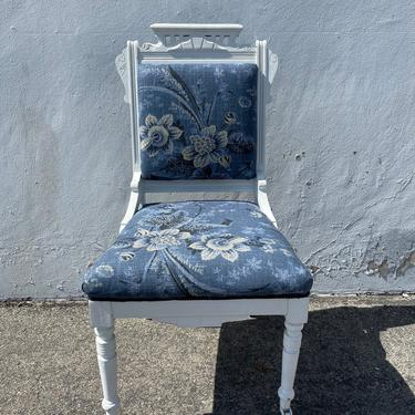Beautiful Antique Eastlake Chair Carved Wood Shabby Chic Accent Seating Ornate Caster Vanity Desk Chair Victorian Upholstered Fabric by DejaVuDecors