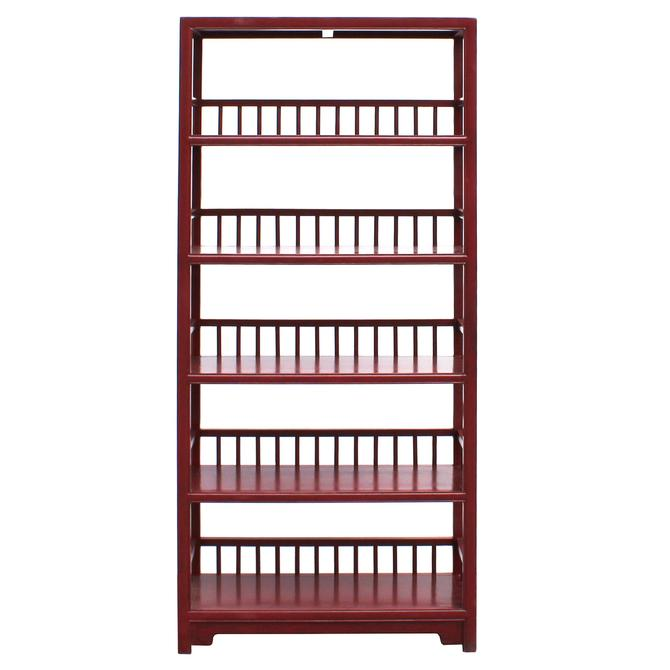Chinese Distressed Matte Brick Red 5 Shelves Bookcase Display Cabinet cs4992S