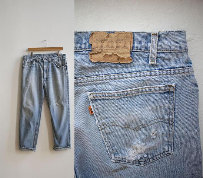 Orange Tab 70s Levis Jeans / Vintage Levis Jeans / Vintage 1970s Levis / Light Wash Levis Jeans 36 Waist / Vintage Levis 36 x 30 by milkandice