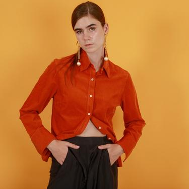 90s Orange Corduroy Long Sleeve Top Vintage Pumpkin Orange Buttton Down Blouse by AppleBranchesVintage