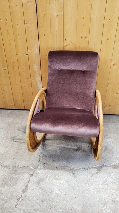 Vintage Mid Century Designer Cane Sided Plum Mohair Newly Upholstered Rocker