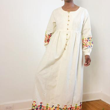 Vintage 1960s 1970s Boho Bohemian Cotton Embroidered Maxi Dress Prairie Kaftan Long Sleeve Gold Button Tapestry Large Keepers Vintage by KeepersVintage