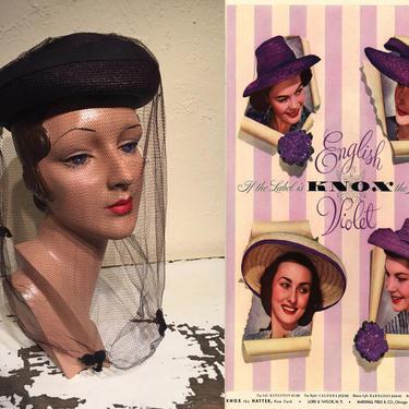 She Was an English Violet - Vintage 1940s Dark Plum Purple Straw Slant Caplet Hat w/Matching Veil by RoadsLessTravelled2
