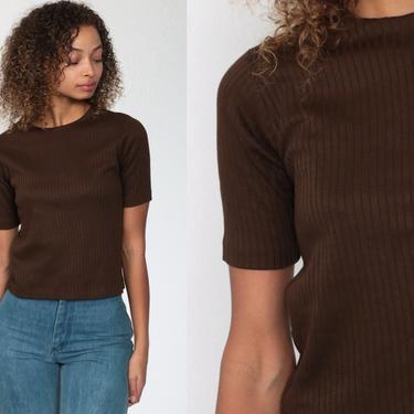 Brown Ribbed Shirt 70s T Shirt Plain TShirt 70s Shirt Polyester Blouse Mod Shirt Plain Short Sleeve Retro Tee Vintage Basic Extra Small xs by ShopExile