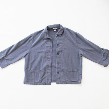 Lappula Jacket — vintage chore coat / large oversized blue cotton jacket / 90s minimalist utility workwear jacket / lightweight barn coat by fieldery