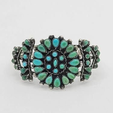 Turquoise Cluster Cuff - Old Pawn Silver Turquoise Cuff - Zuni or Navajo - 40s/50s Cuff - Multicolor Turquoise - Thick Cuff by BellsAndWhistlesEtc
