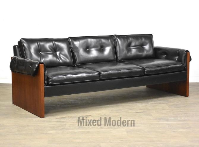 Walnut & Vinyl MCM Sofa by mixedmodern1