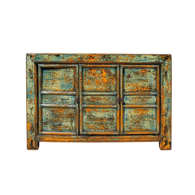 Chinese Distressed Teal Blue Green Sideboard Console Table Cabinet cs5763S